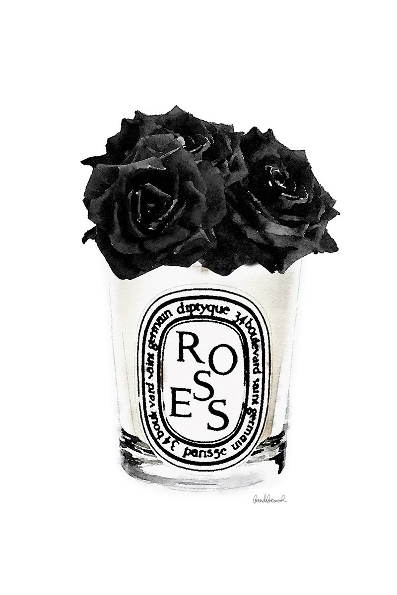 Candle & Black Rose