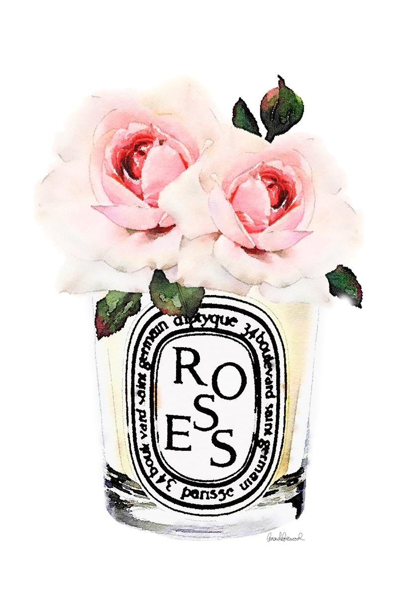 Candle & Pink Rose
