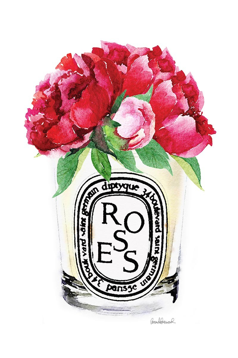 Candle & rRed Peonies