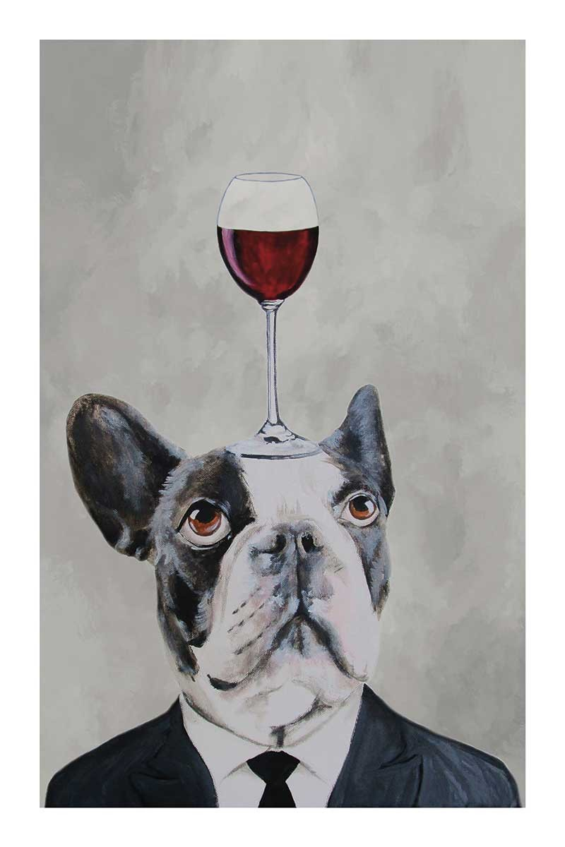French  Bulldog with wineglass