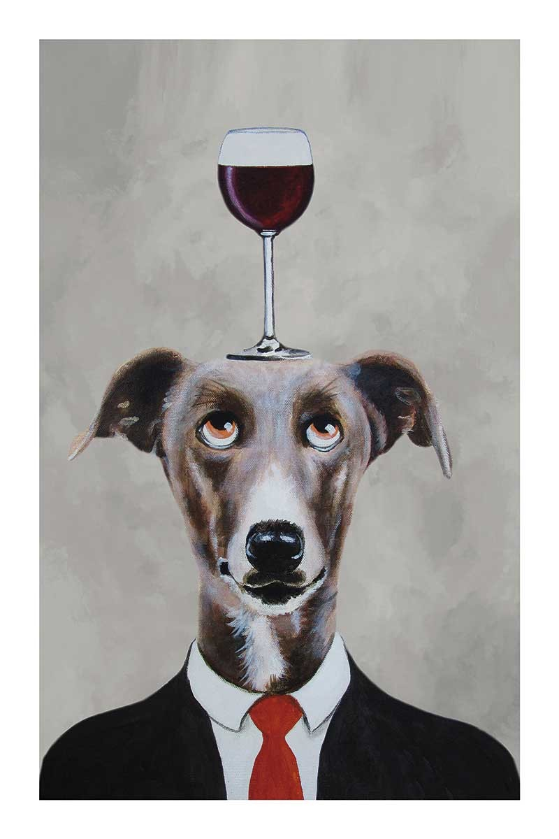 Greyhound with wineglass