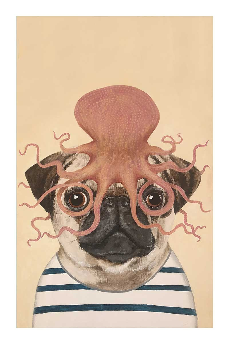 Pug with Octopus