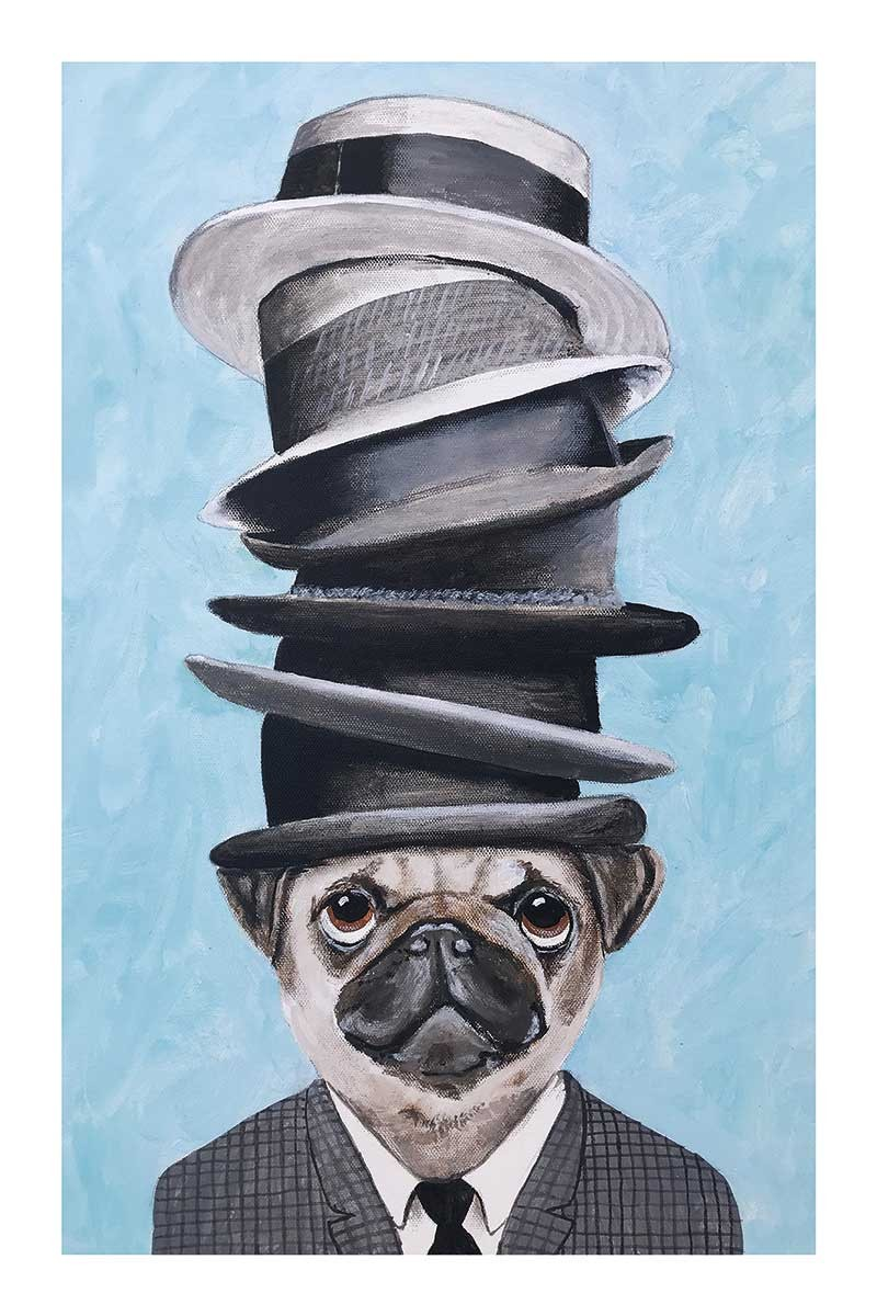 Pug with Stacked Hats